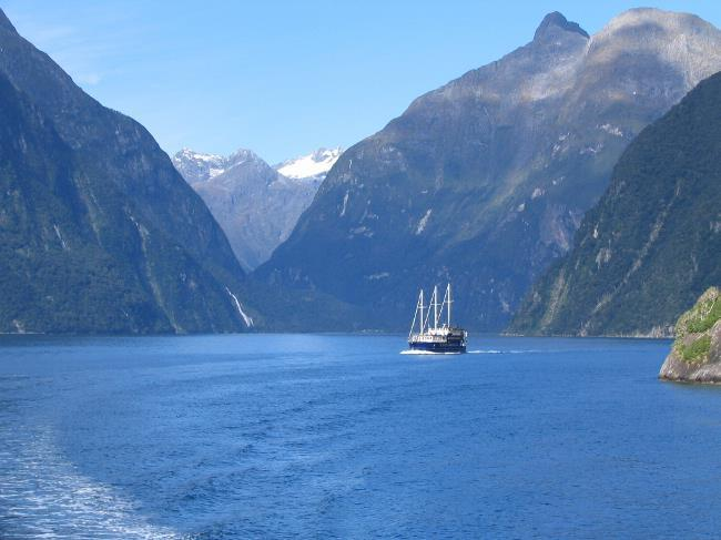 Ship on Milford Sound