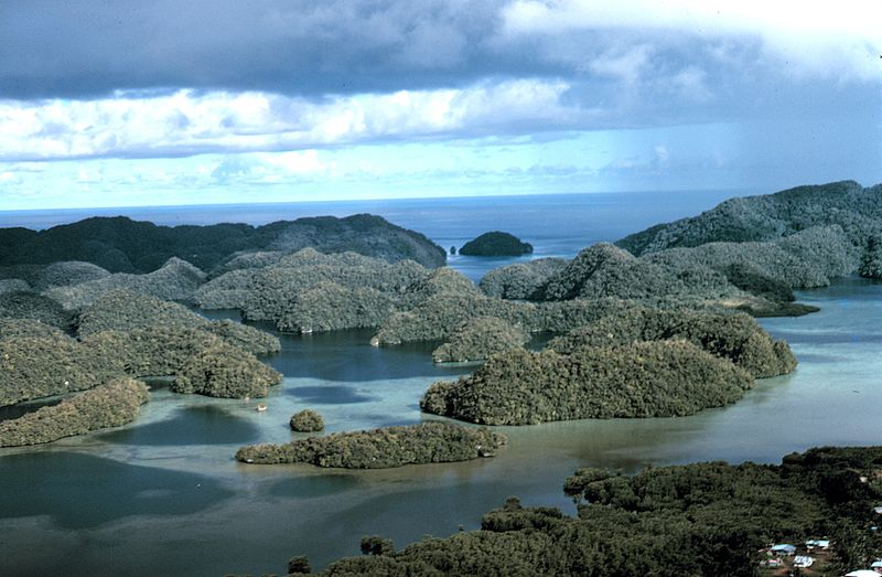 Aerial view of limestone islands