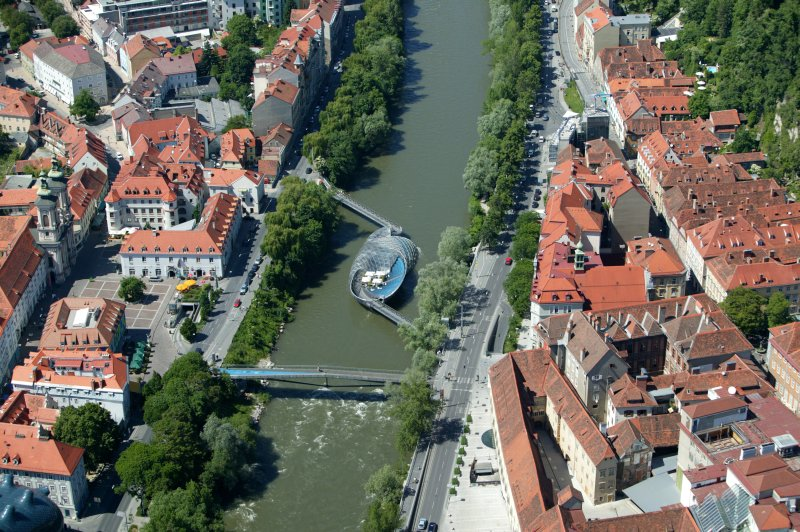 Island in the Mur (river through Graz)