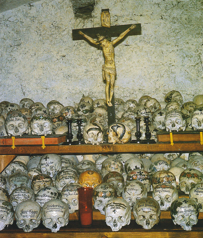 ossuary of Hallstatt, over 600 colorfully painted skulls