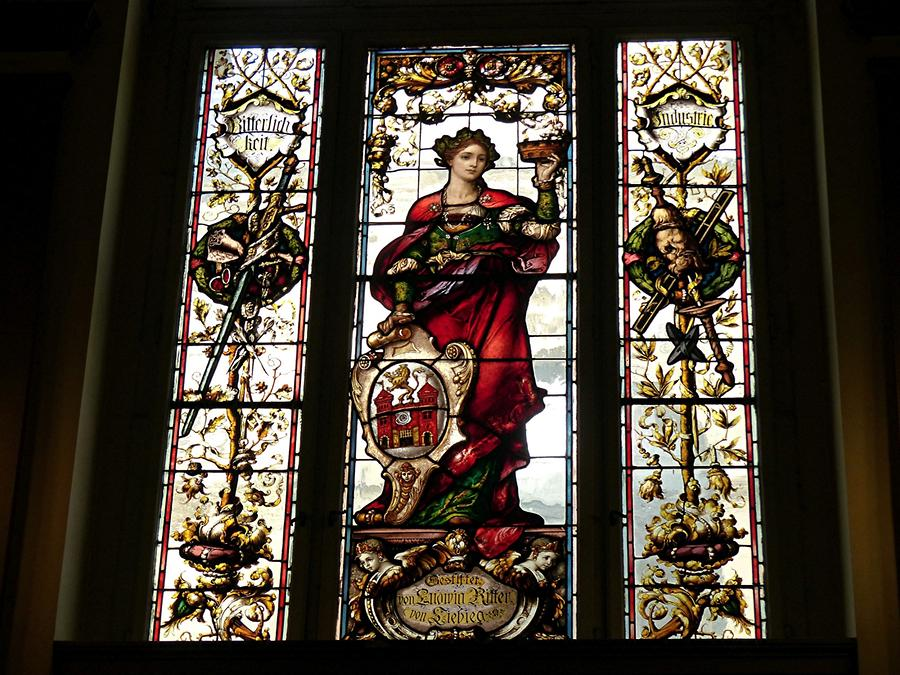 Liberec - Town Hall; Stained-glass Window, City Coat of Arms