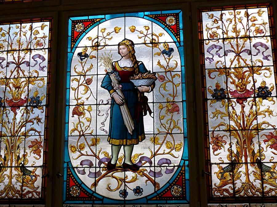 Liberec - Town Hall; Stained-glass Window 'Reichenberger Baker'