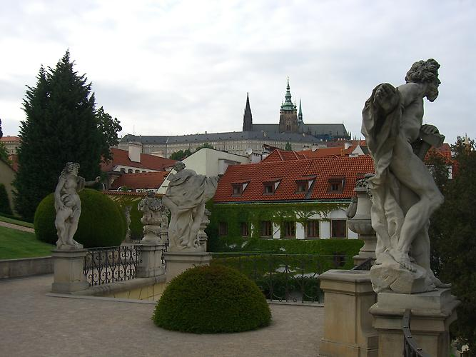 View of the Prague Castle from the Vrtba Garden