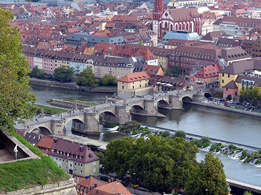 Würzburg - Old bridge over river Main seen from Fortress Marienberg,