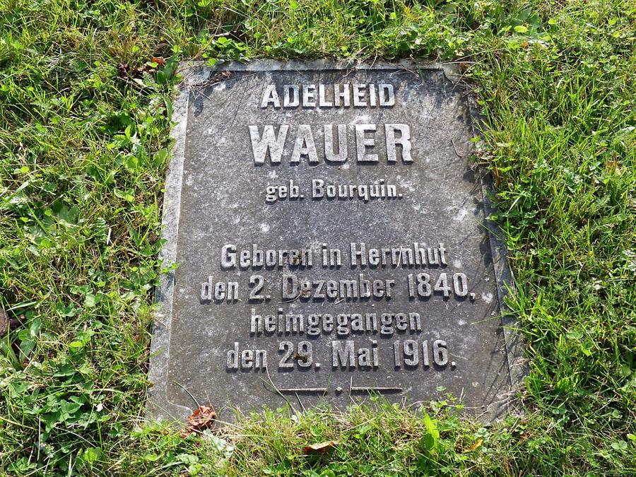 Herrnhut - Cemetery; Simple Grave Plate in the Meadow