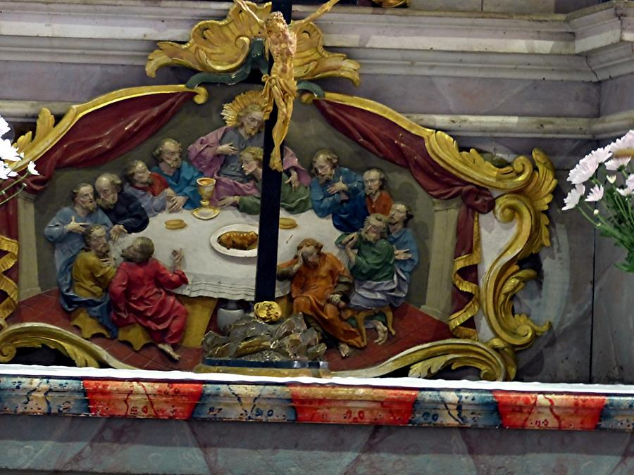 Oybin - Bergkirche; Baroque Painting 'Last Supper' below the Pulpit