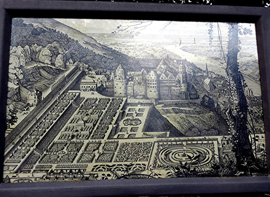 Heidelberg - Castle, Illustration from the 17th Century