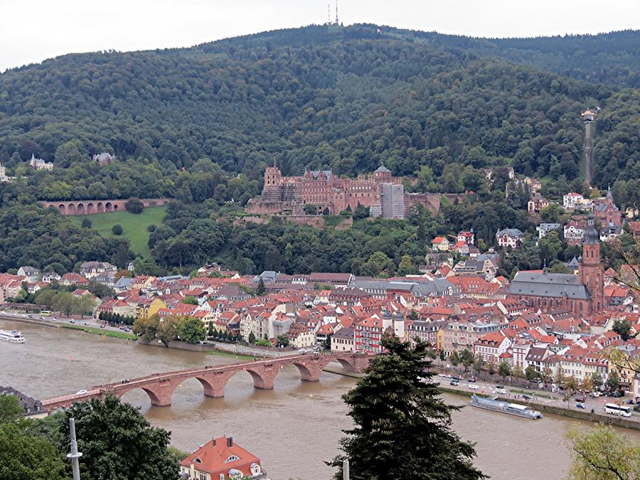 Heidelberg - Philosophers' Walk; View of the Castle, Old Bridge, Churchof the Holy Spirit, Königstuhl Hilltop