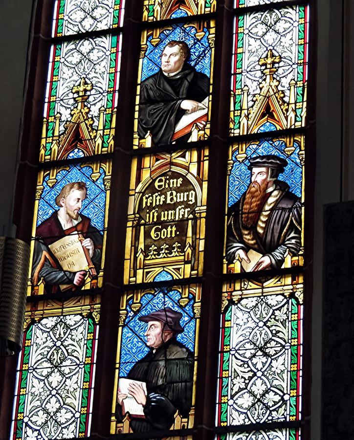 Heidelberg - St. Peter's Church; Stained-Glass Windows with Protestant Reformers