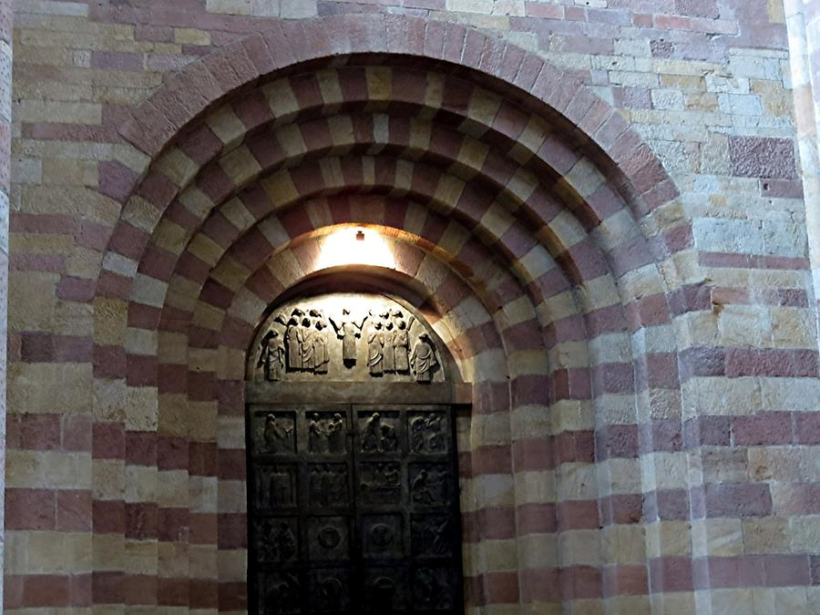 Speyer Cathedral; Romanesque Church Porch with Modern Door
