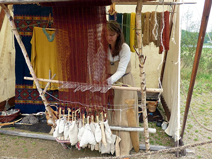 Haithabu - Viking Village; Weaving Viking Woman