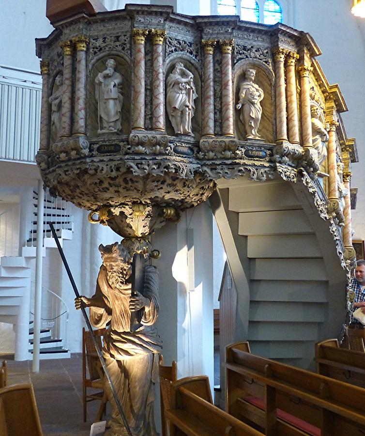 Kiel - Protestant St. Nicholas' Church; Baroque Pulpit from 1705, borne by Moses