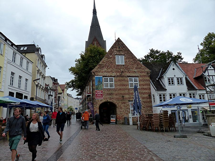Flensburg - Market Place 'Nordermarkt' with Church of St. Mary