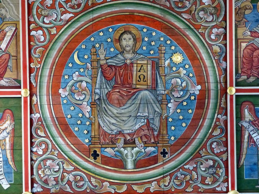 Hildesheim - St. Michael's Church; Painted Oak Ceiling (1220 - 40), Christus Pantocrator