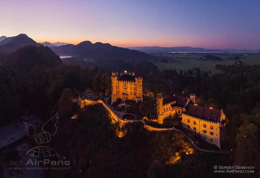 Hohenschwangau Castle at night, © AirPano