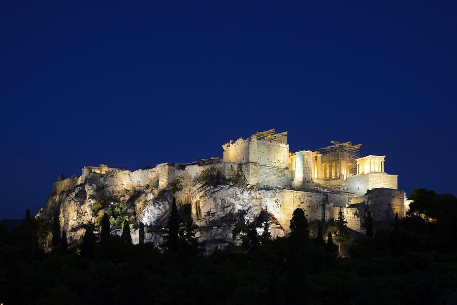 View of the Acropolis from Filopappou Hill at Night