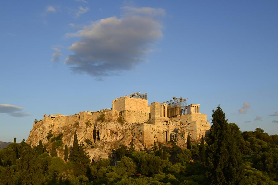 View of the Acropolis from Filopappou Hill at Sundown