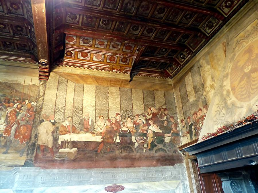 Malpaga Castle - Banquet Hall, Frescoe showing a Banquet