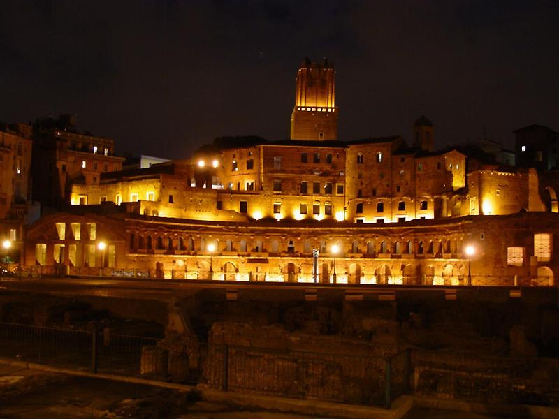 Nighttime view of Trajans Market