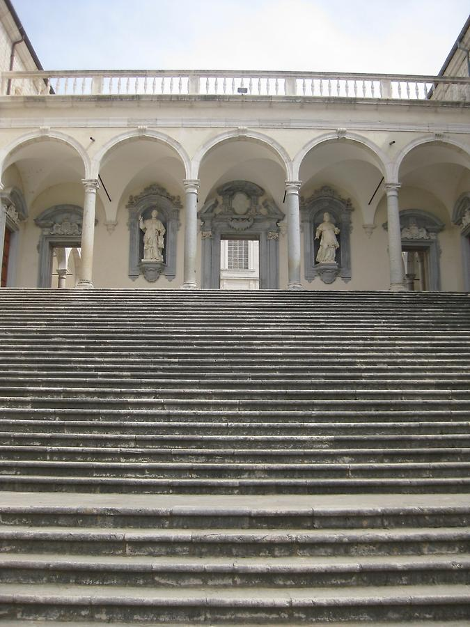 Cassino - Abbey of Monte Cassino, Stairway to Cloister of the Benefactors