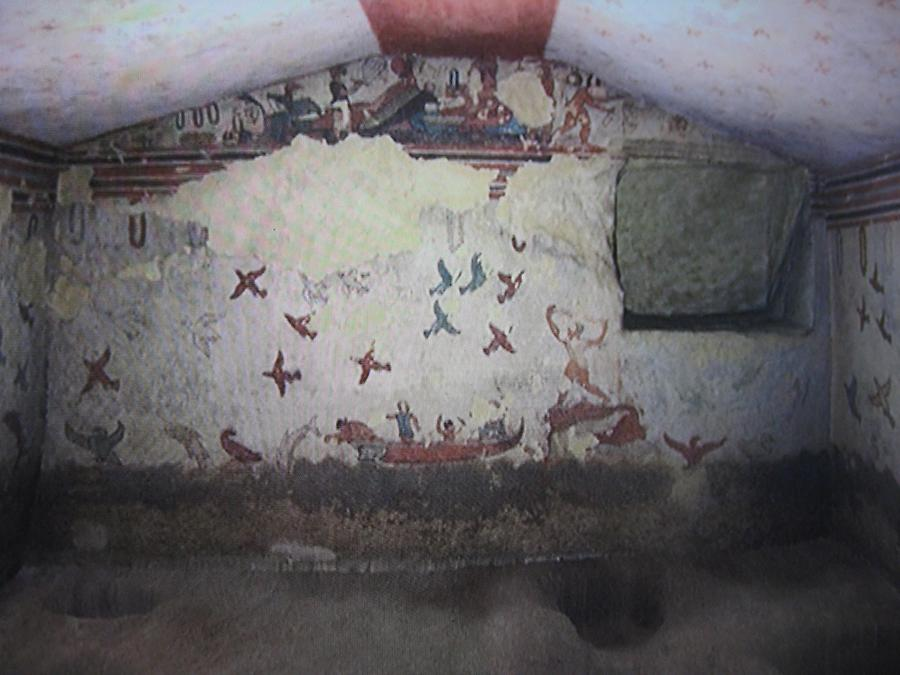 Tarquinia - Necropolis Monterozzi, Tomb of Hunting and Fishing; Fresco with Fishing Scene