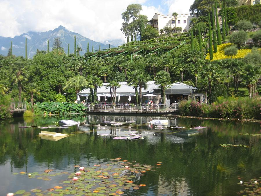 Meran - Trauttmansdorff Castle Gardens; Café and Lily Pond with 'Water Blooming' byIchi Ikeda