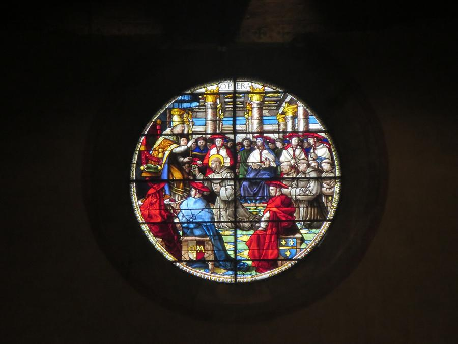 Arezzo - Church of San Francesco; Stained-glass Window, G. de Marcillat