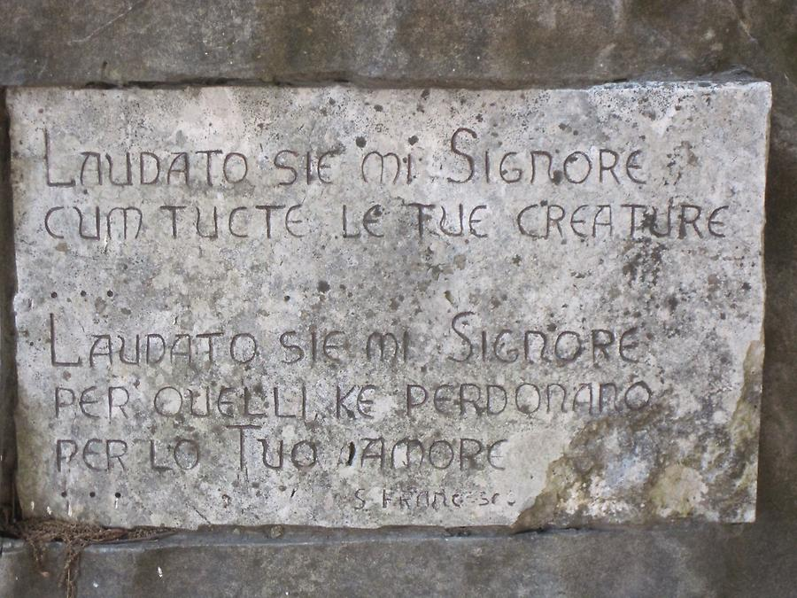 Gubbio - Inscription on the monument of St. Francis