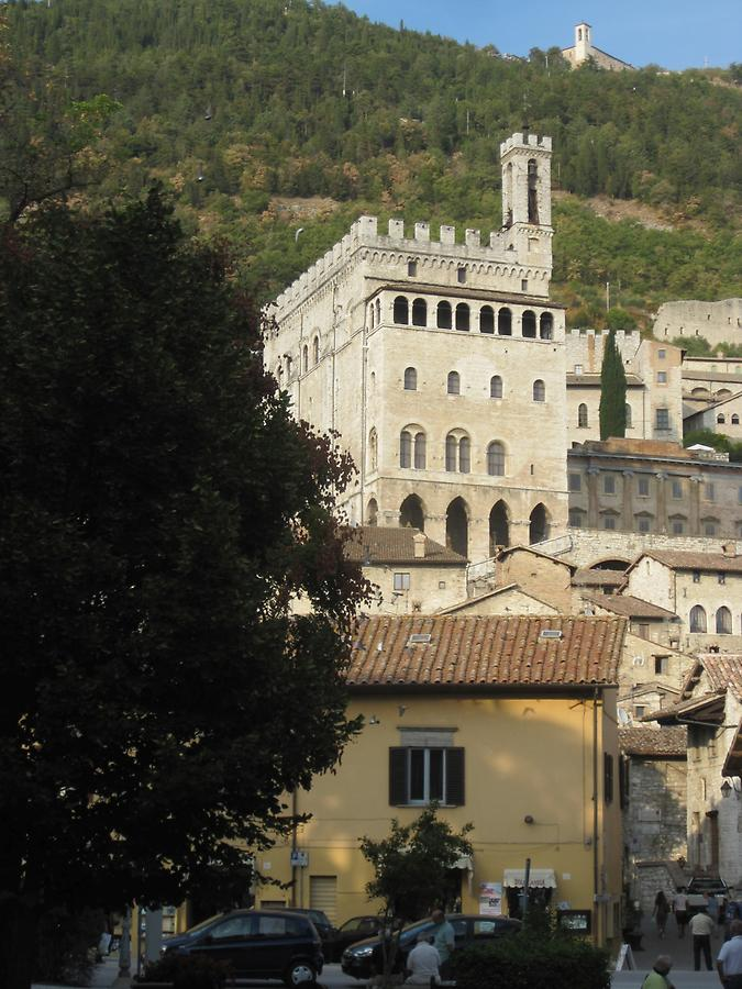 Gubbio - View from the Piazza Quaranta Martiri onto Palazzo dei Consoli and Sant Ubaldo