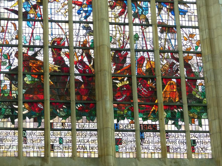Delft - Oude Kerk; Stained-glass Window from the 20th Century
