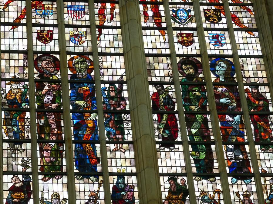 Delft - Oude Kerk; Stained-glass Window from the 20th Century, Evangelists