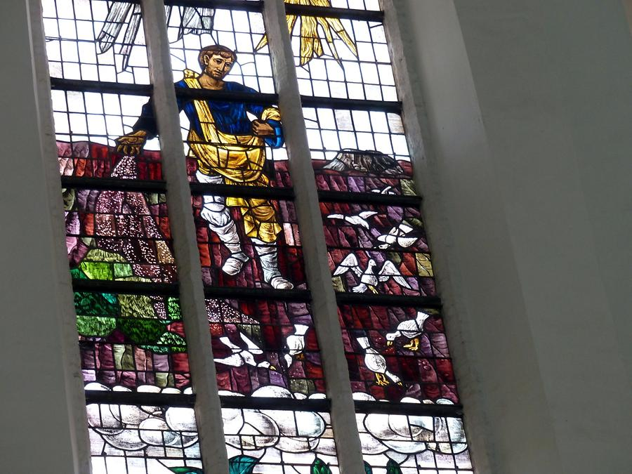 Delft - Oude Kerk; Stained-glass Window from the 20th Century, Sower