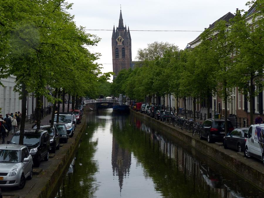Delft - Oude Kerk with its Leaning Tower