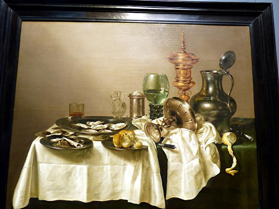 Amsterdam - Rijksmuseum; 'Still life with oysters, a rummer, a lemon and a silver bowl', Willem Heda (1634)