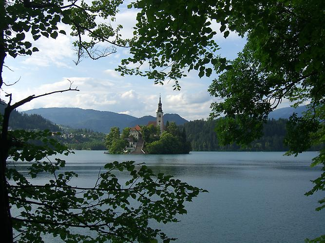 Lake Bled and Bled island with the pilgrimage church of Assumption of Mary