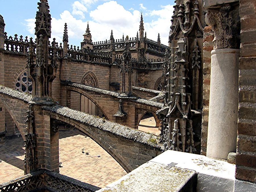 Seville Cathedral – View from Giralda of supporting beams and arch structure
