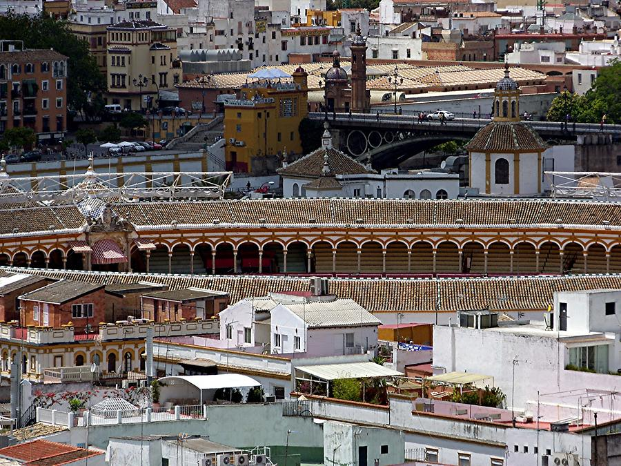Seville Cathedral – View of bullfight arena from Belltower Giralda