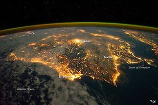 City lights of Spain and Portugal