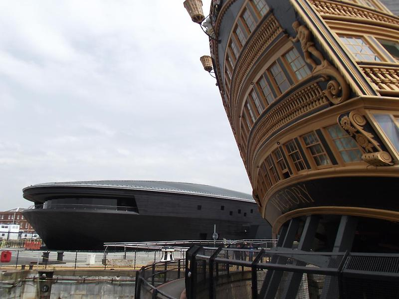 Curving lines of the Mary Rose Museum