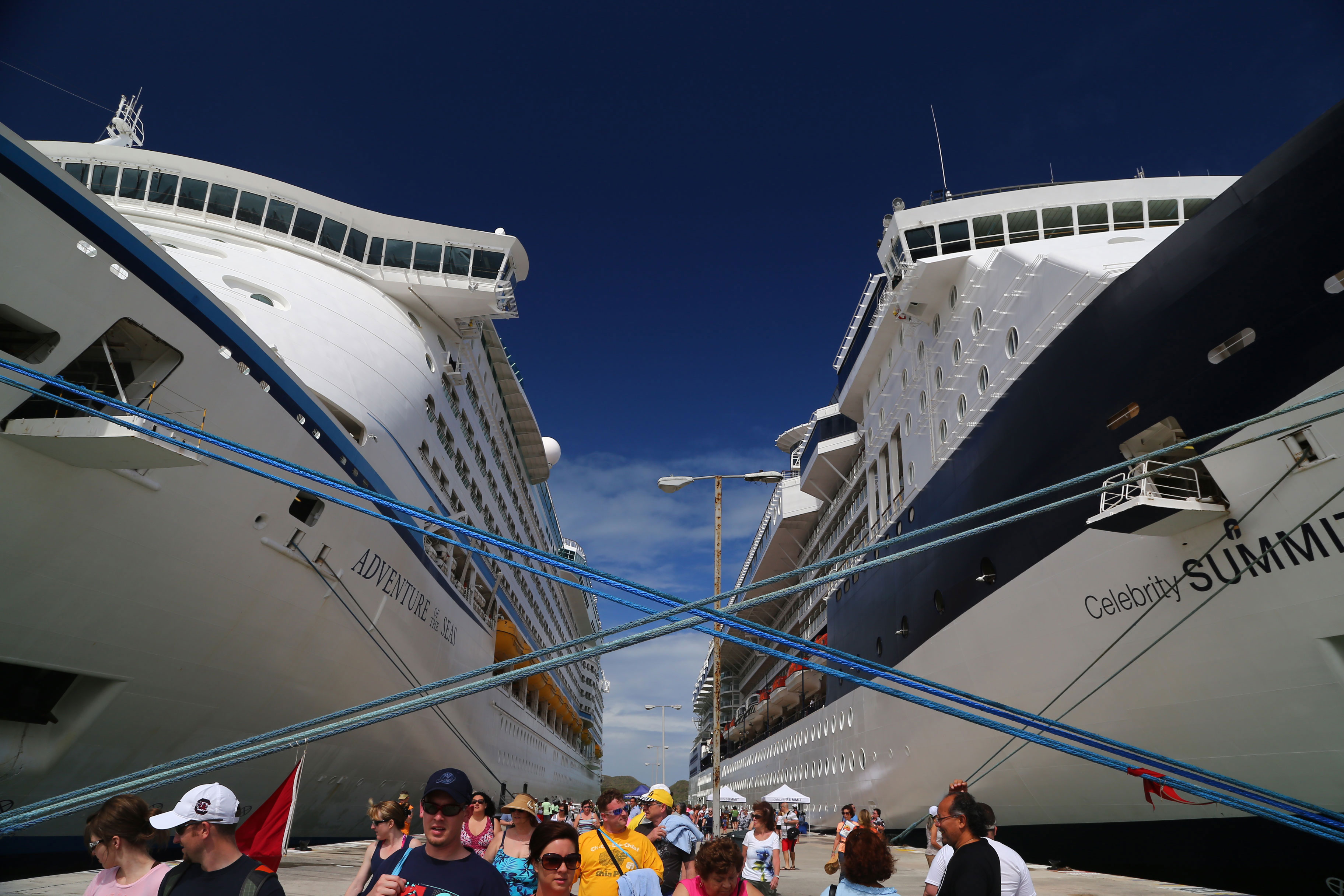 The Celebrity 'Summit' on the right hand side makes port next to the 'Adventure of the Seas' in St. Maarten