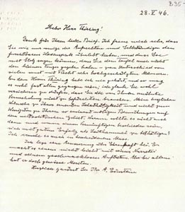 Brief von Albert Einstein an Hans Thirring, 1946