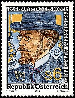 Alfred Hermann Fried, Briefmarke