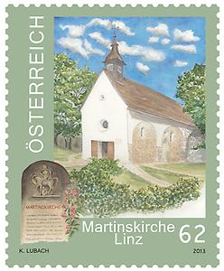 Briefmarke, Martinskirche in Linz