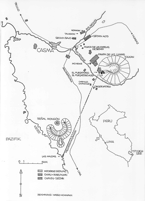 The map shows the processional way from Las Haldas to El Purgatorio Alto. It also shows the other archaeological sites as well as the modern settlements around Casma.