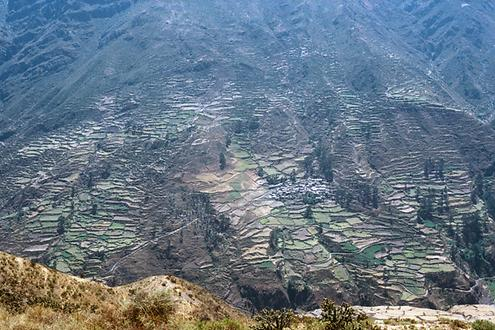 Terraced fields and a village on the opposite slope