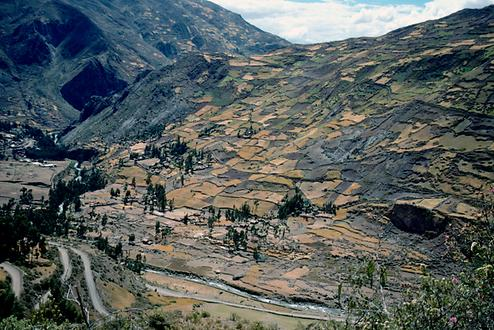 The Río Mosna runs 3400 m above sea level here. The typical fields of the indigenous people reach almost 4000 m.