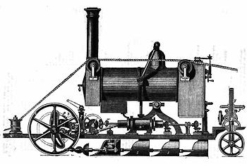 1858: Cousins Patent-Dampfpflug – (Grafik: The Mechanic's Magazine)