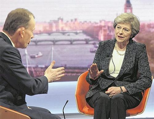 Premierministerin Theresa May in der 'Andrew Marr Show' auf BBC
