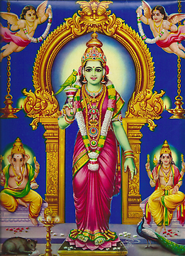 The modern devotional picture shows the goddess with her sons Ganesha on the left and Karttikeya on the right, both with their riding animals (vahana), a rat (mushika) and a peacock (mayura)
