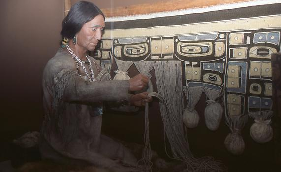 Weaving of a Chilkat blanket on the American Northwest Coast
